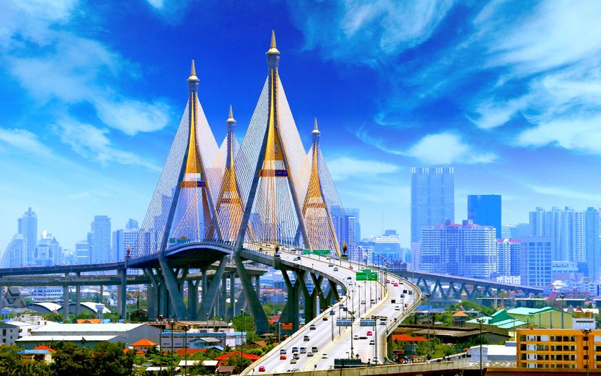 Bhumibol Bridge in Bankok, Thailand