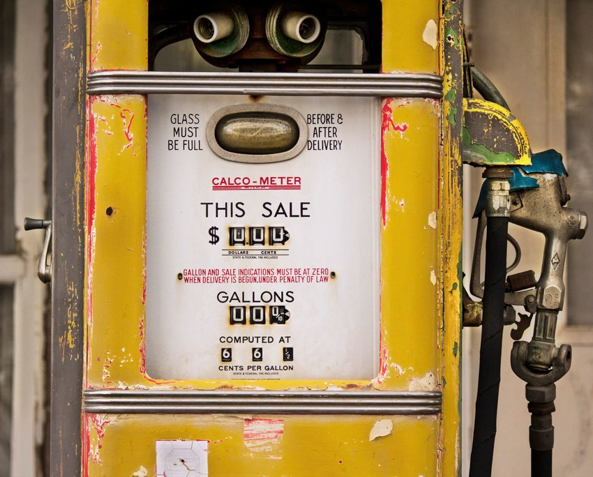 An antique gas pump from an abandoned gas station in Oregon