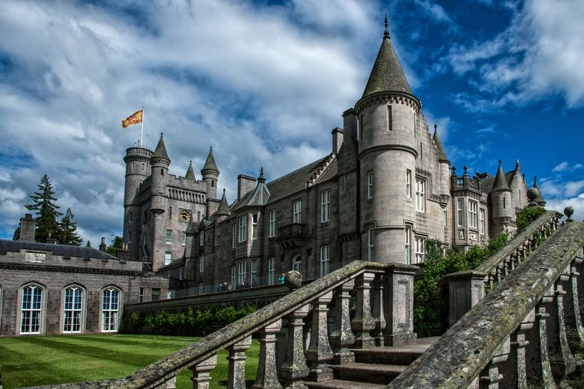 Balmoral Castle set against a blue sky