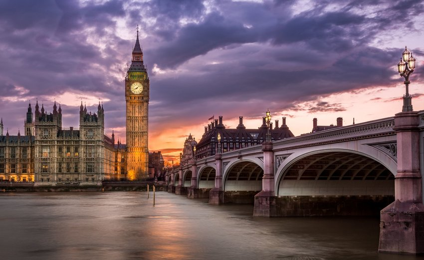 Big Ben and a view of London during sunset