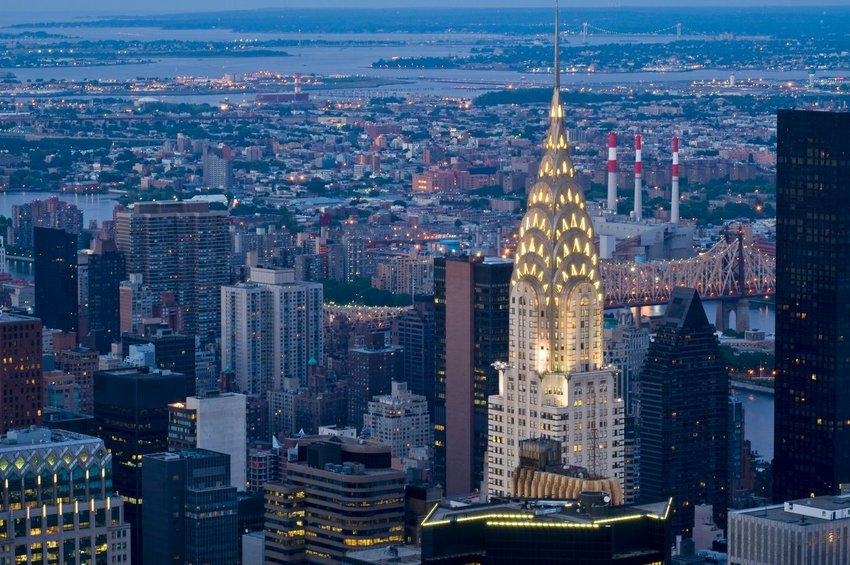 Chrysler Building in New York City at nighttime