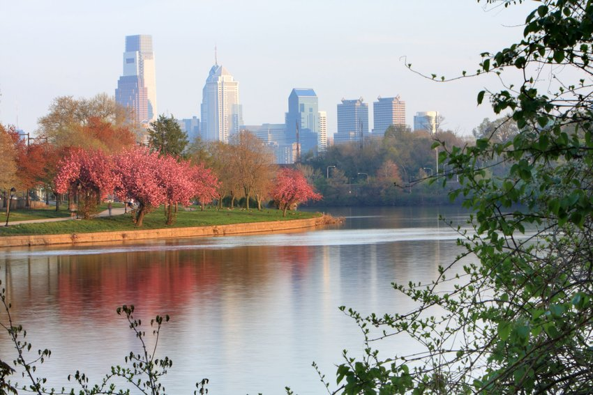Schuykill River and Fairmount Park with Philadelphia
