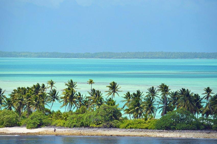 Landscape of Fanning Island, Republic of Kiribati, against the ocean
