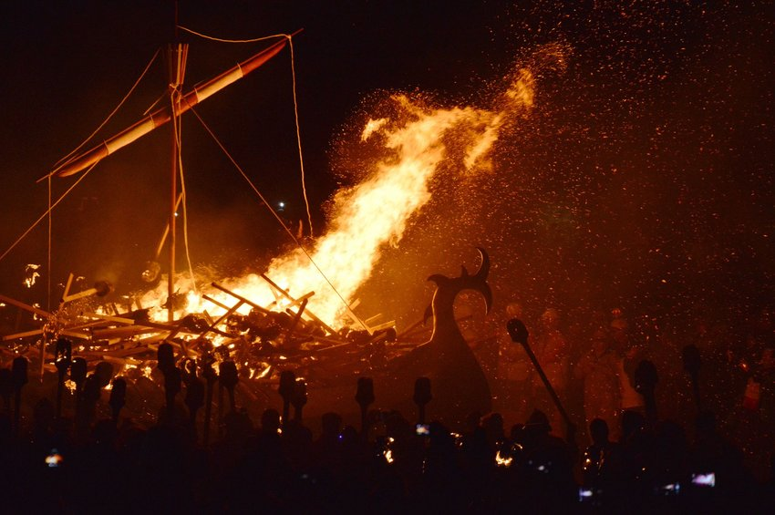 Bonfire and Viking galley at Up Helly Aa Festival