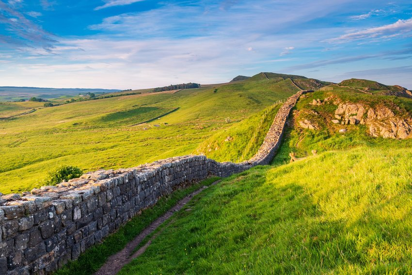 Hadrian's Wall, a World Heritage Site, in Northumberland National Park