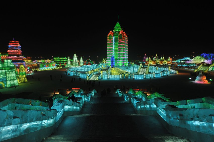 Harbin International Ice and Snow Sculpture Festival landscape at night