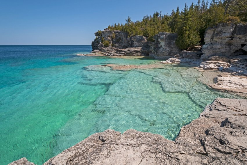 Colorful Waters above a descending underwater coast on Lake Huron