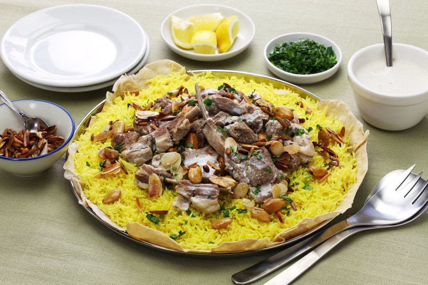 Mansaf, a dish of lamb, rice, and yogurt