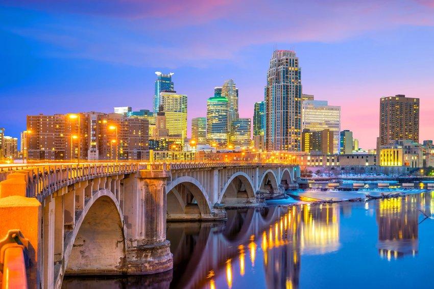 Minneapolis downtown skyline in Minnesota, USA, at sunset