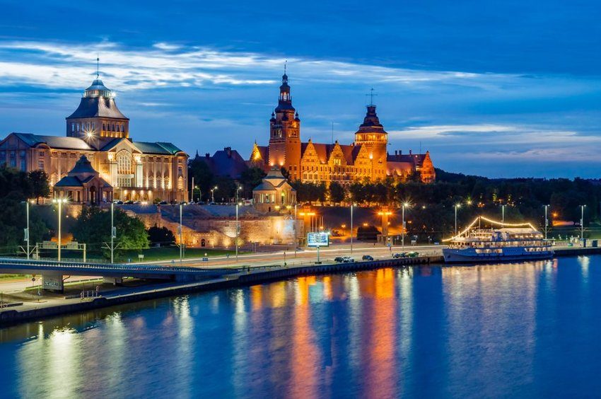 Port city of Szczecin in the evening