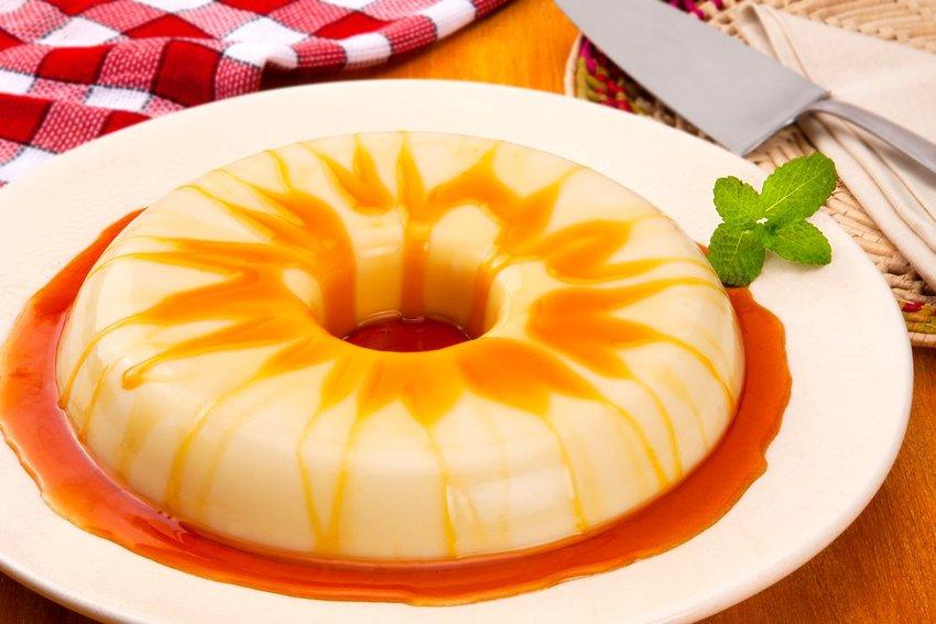 Pudim de leite condensado on a white plate