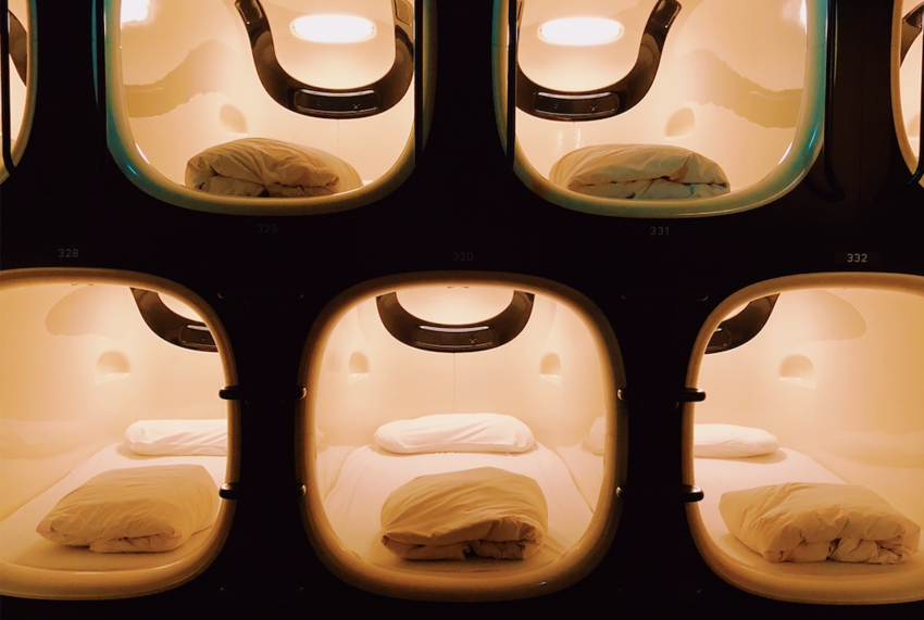 Capsule Hotel Beds in Kyoto, Japan
