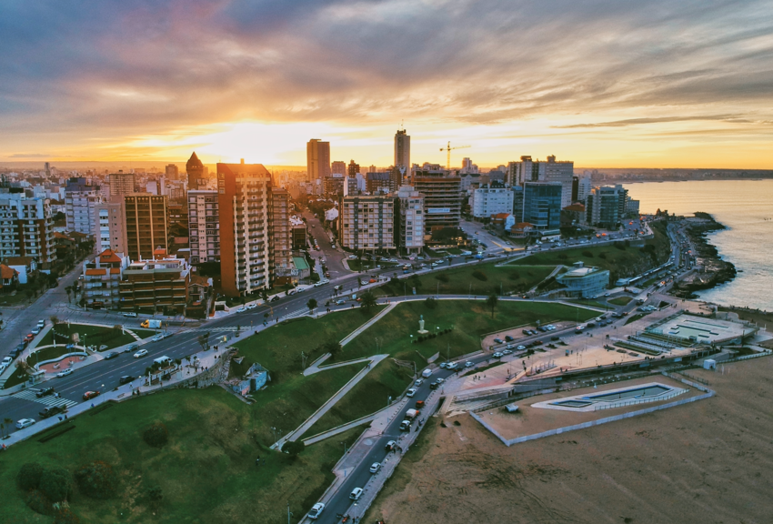 Aerial view of Buenos Aires at dusk