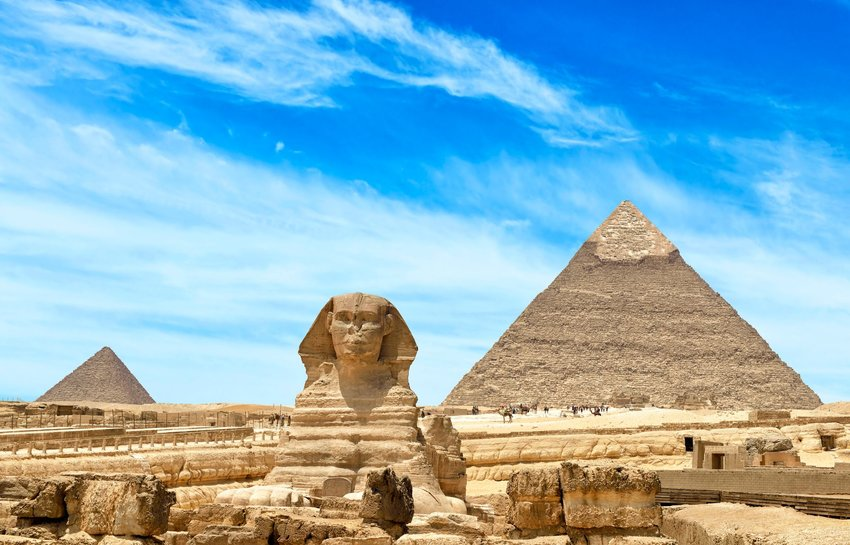 The Sphinx in front of the Great Pyramid of Giza