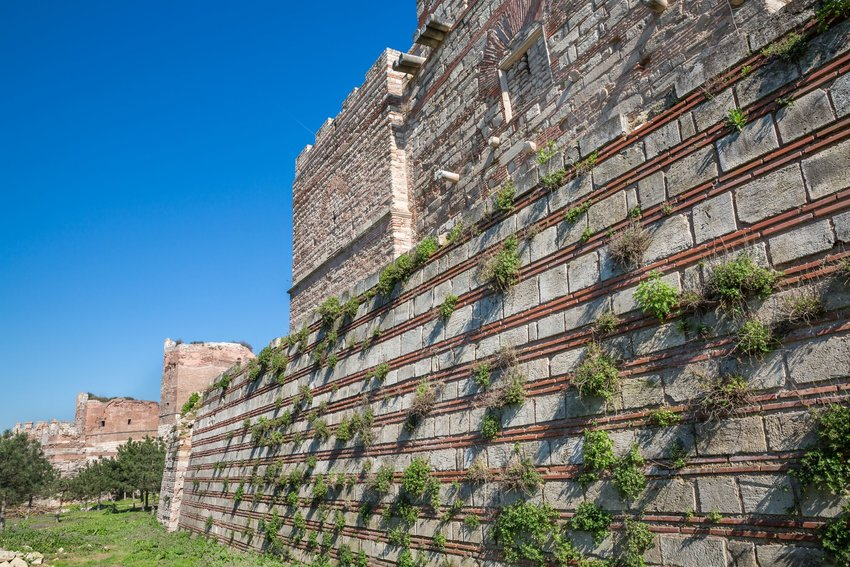 Side view of Theodosius fortification Wall in Istanbul