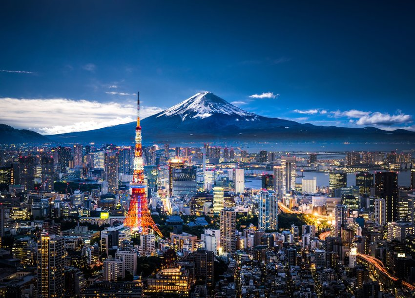 Mt. Fuji and skyline of Tokyo, Japan