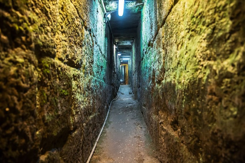 A narrow passageway in the Western Wall Tunnels