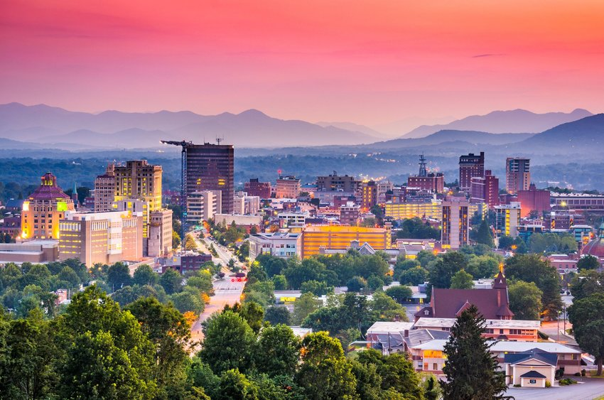 Mountains and city in Asheville, North Carolina