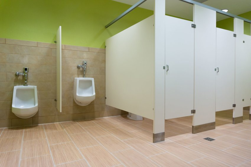 Public restroom with stalls and urinals
