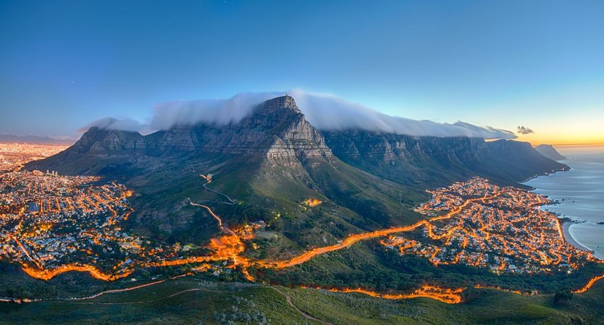 Aerial view of Cape Town at sunset