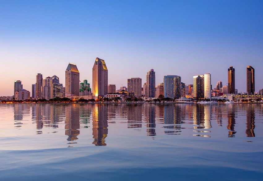 San Diego skyline with water in foreground
