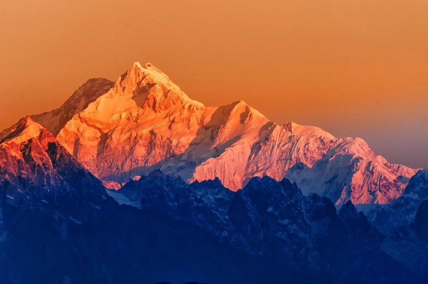 Mount Kanchenjugha in the Himalayas at dawn