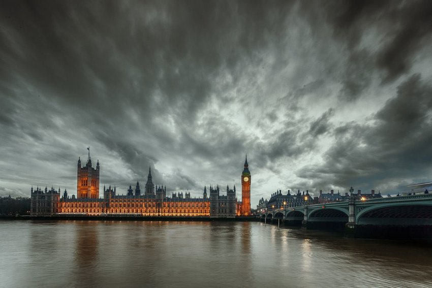Storm clouds over Big Ben in London, UK