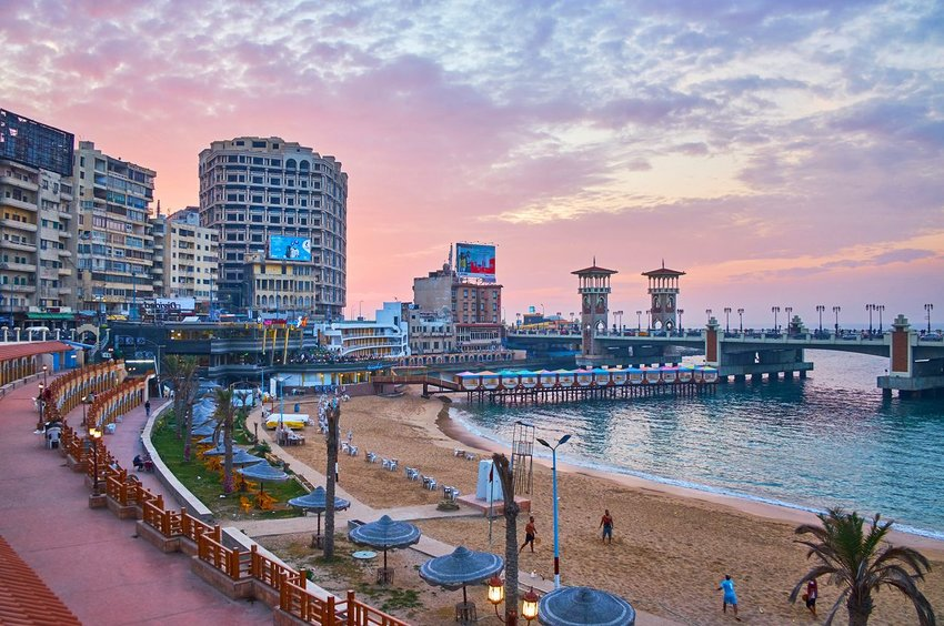 Alexandria, Egypt at sunset