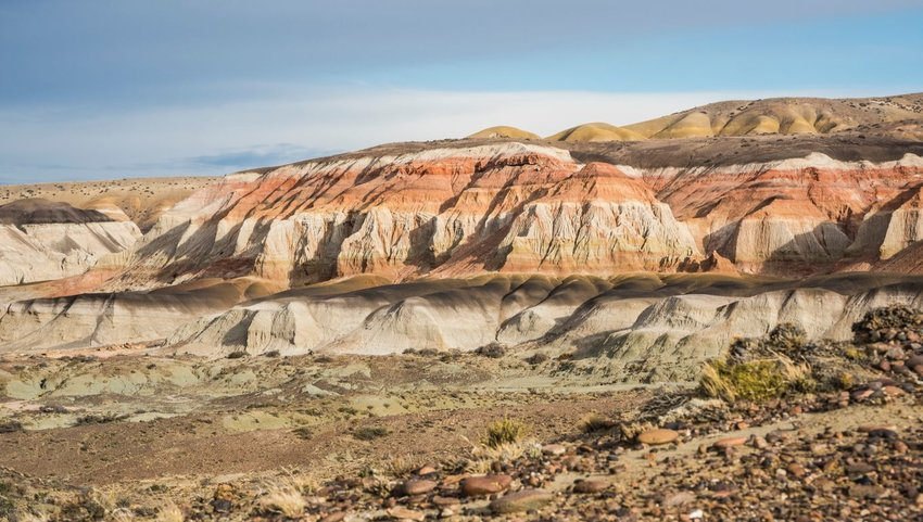 Layered sedimentary rocks in the Colorful valley of the Petrified Forest Natural Reserve