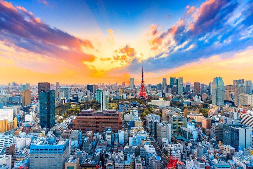 Tokyo, Japan skyline at sunset