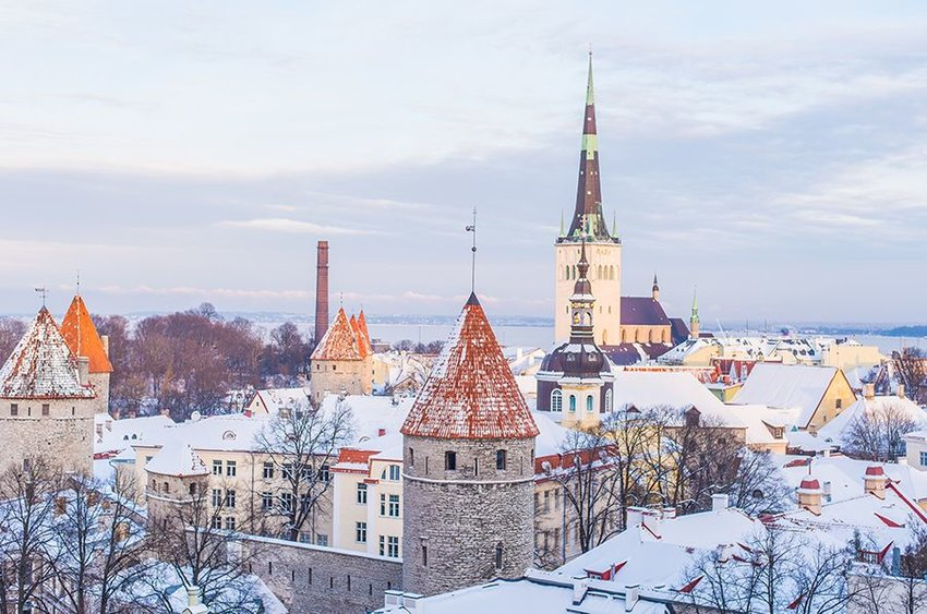 Old Town of Tallinn, Estonia covered in snow