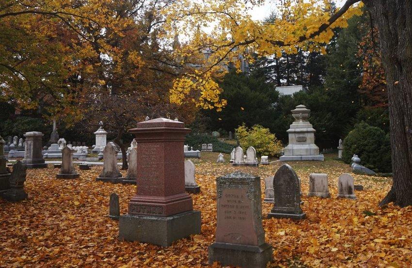 Headstones in Mt. Auburn Cemetery, Cambridge in autumn with fallen leaves