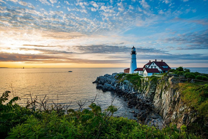Lighthouse and sea in Portland, Maine