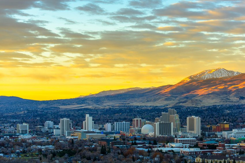 Reno, Nevada skyline with mountains