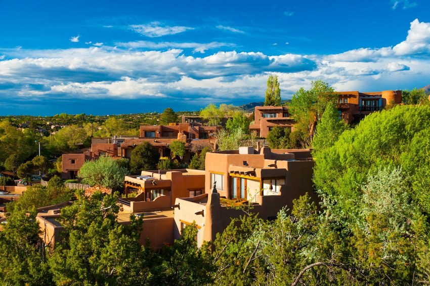 Adobe homes on a hillside in Santa Fe