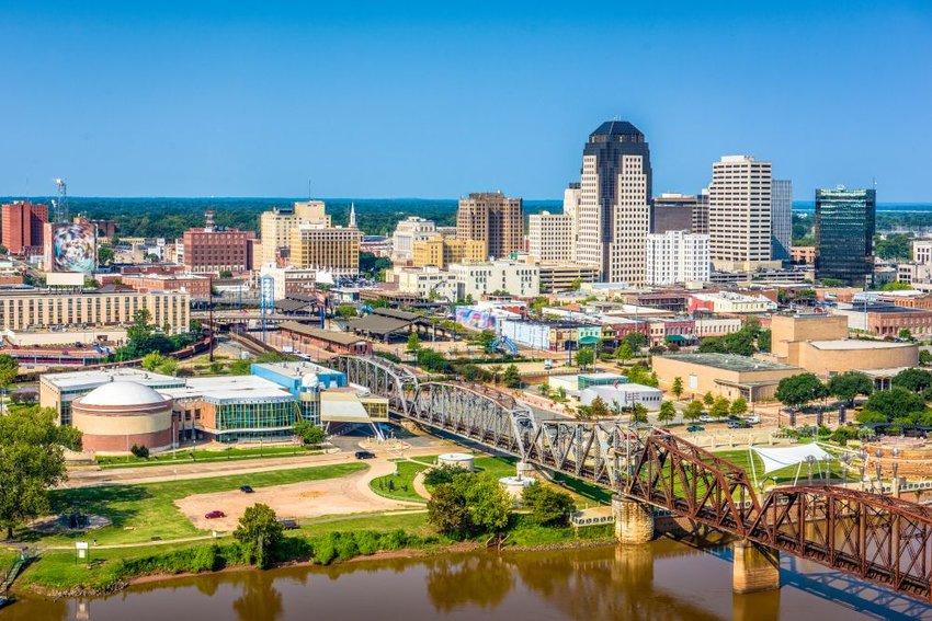 Aerial view of Shreveport, Louisiana