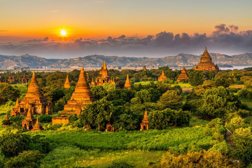 Myanmar temples in the Bagan Archaeological Zone, Myanmar at sunset