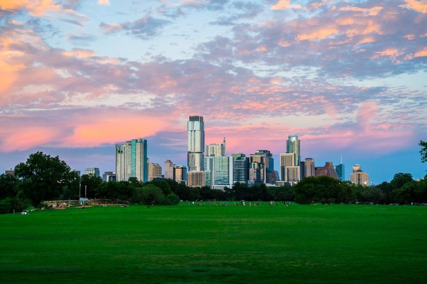 Skyline of Austin, Texas and Zilker park at sunset