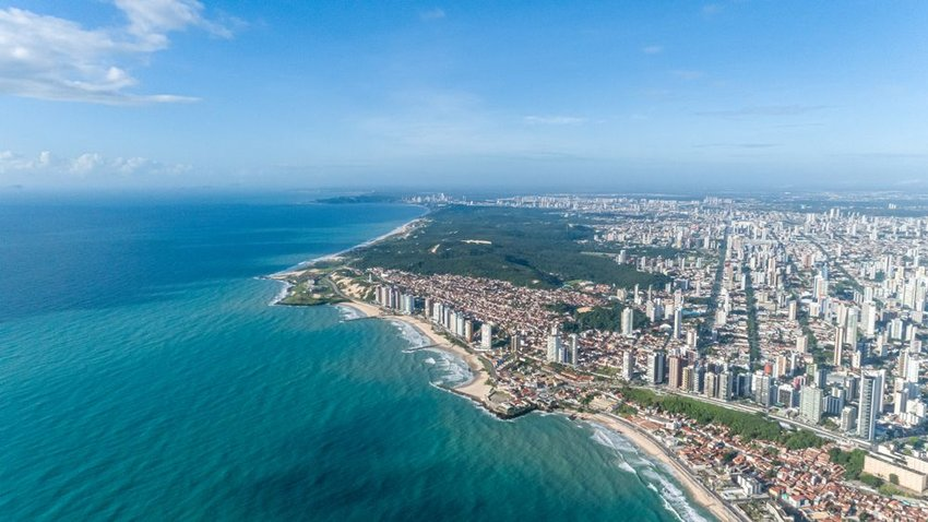 Aerial view of the city of Natal, Rio Grande do Norte, Brazil coastline