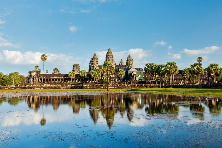 Cambodian landmark Angkor Wat with reflection in Siem Reap, Cambodia