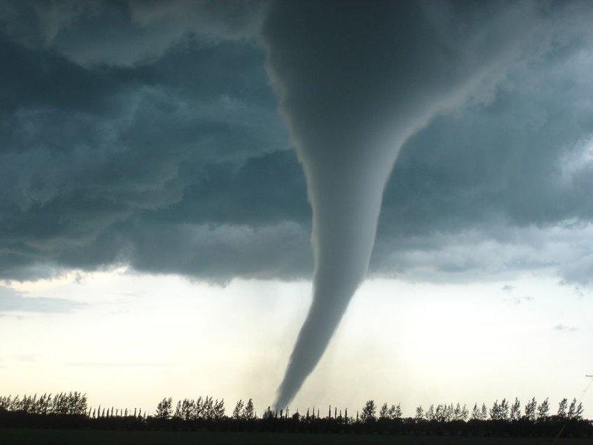 Strong tornado over Manitoba, Canada