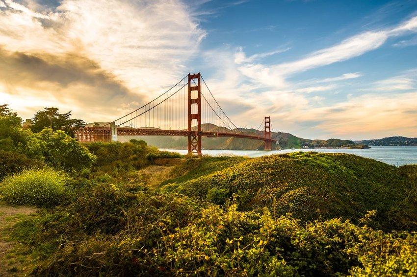 Golden Gate park at sunset