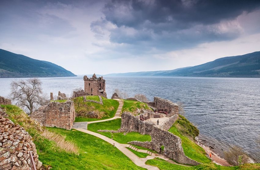 Loch Ness in Scotland with dark clouds overhead