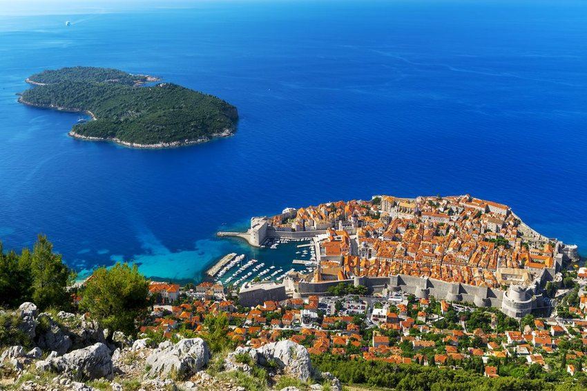 Aerial view of Dubrovnik with island in background