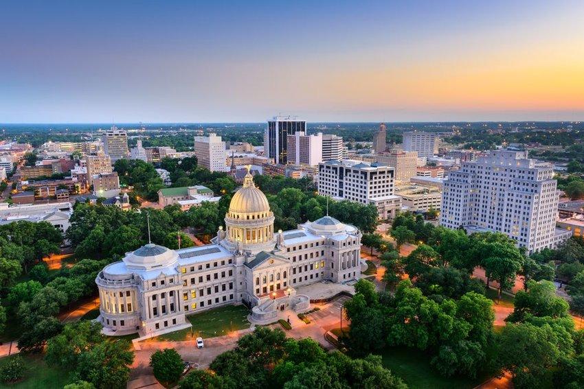 Jackson, Mississippi city at dusk