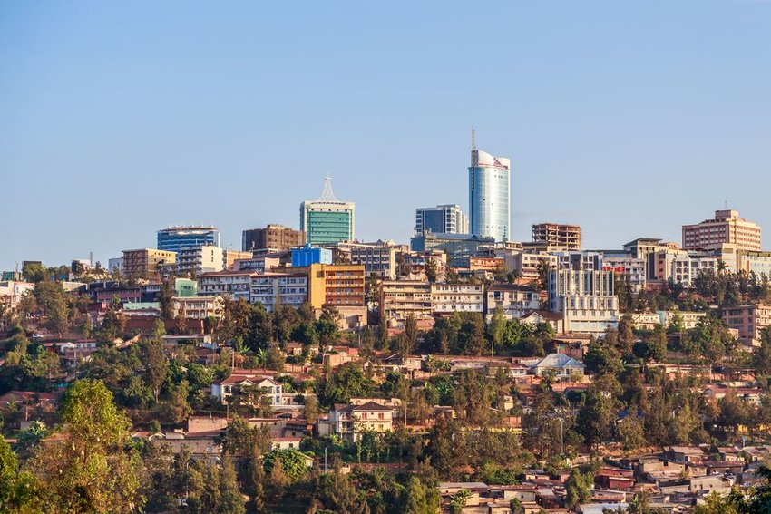 Panoramic view at the city business district of Kigali, Rwanda