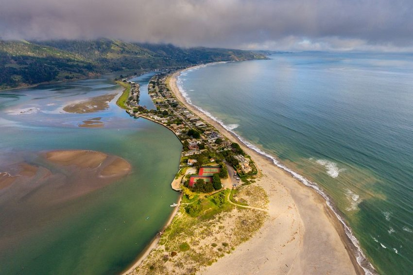 Aerial photo of Stinson Beach, California during the day