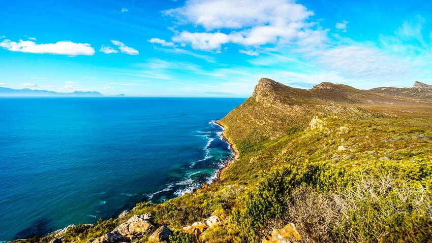 The rugged coast of the Atlantic Ocean on the Cape Peninsula in South Africa
