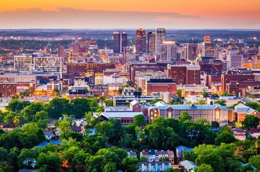 Aerial view of the skyline of Birmingham, Alabama