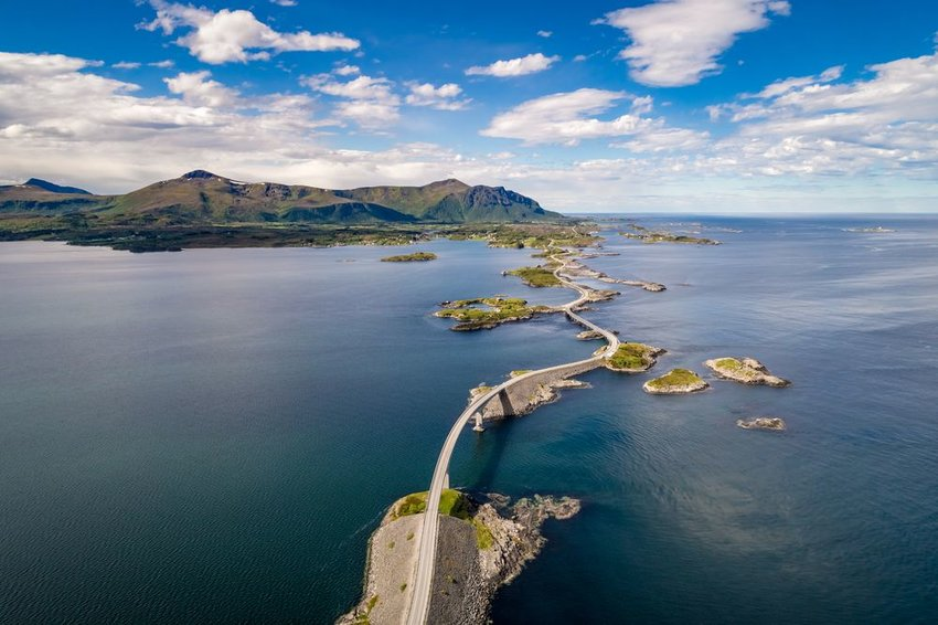 Aerial drone shot of the world famous Atlantic Road in Norway